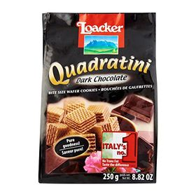 Loacker Quadratini Dark Chocolate Bite Size Wafer Cookies - 250g