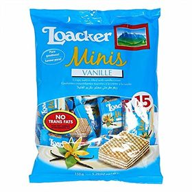 Loacker Minis Vanille Wafer Biscuit 15pcs Packet, 150g