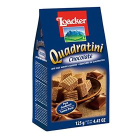 loacker Quadratini Chocolate - Bite Size Wafer Cookies -125Gms - 100% Veg