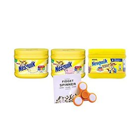 Nestle Nesquik Banana+Strawberry+Chocolate-300 g Each and 1 LED Light Fidget Spinner Combo