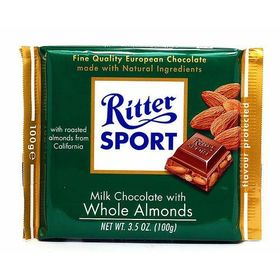 Ritter Sport Milk Chocolate with Whole Almonds, 100g