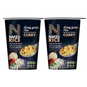 Naked Rice Veg Malaysian Curry Instant Rice Cup,78g - Pack of 2