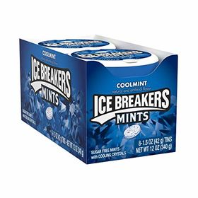 Ice Breakers Mints, Coolmint, Sugar-Free, 1.5 Oz Container (Pack of 8)