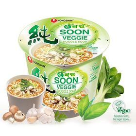 Nong Shim Soon Veggie Noodle Soup 75 g X (Pack of 6 Cup)
