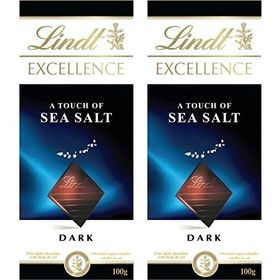 Lindt Excellence Sea Salt Touch Chocolate, 2 X 100 g