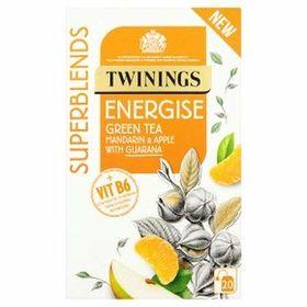 Twinings Superblends Energise Green Tea Mandarin & Apple with Guarana 20 Tea Bag ( 20 X 2g ), 40g