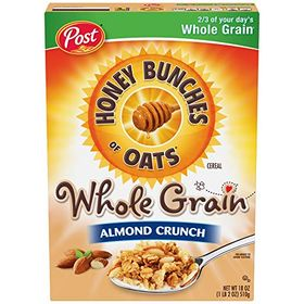 Post Honey Bunches of Oats Cereal Whole Grain Almond Crunch, 510g