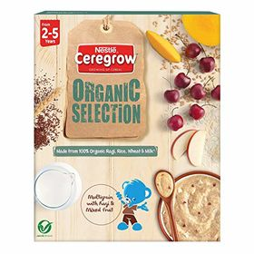 Nestle CEREGROW Organic Selection, Multigrain Cereal with Ragi and Mixed Fruits - From 2 to 5 Years, 200g Bag-In-Box Pack