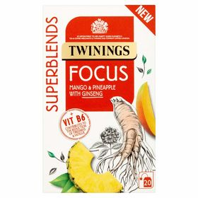 Twinings Superblends Focus Mango & Pineapple with Ginseng Tea 20 Tea Bag, 30g