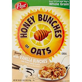 Post Honey Bunches Of Oats Vanilla Clusters, 18 oz