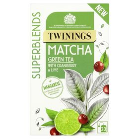 Twinings Superblends Matcha Green Tea with Cranberry & Lime, 20 Bags, 40g