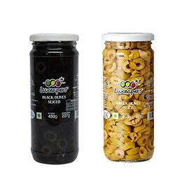 Luxeapers Black Pitted Olives + Green Pitted Olives, 450g, Pack of 1 Unit Each