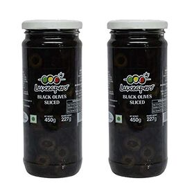 Luxeapers Black Sliced Olives in Brine, 450g (Pack of 2)