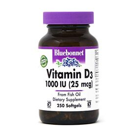 Bluebonnet Nutrition Vitamin D3, 250 Softgels 1000 I.U.