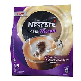 Nestle Nescafe 3 in 1 Mocha Coffee Latte - Instant Coffee Packets - Single Serve Flavored Coffee Mix (15 Sticks)