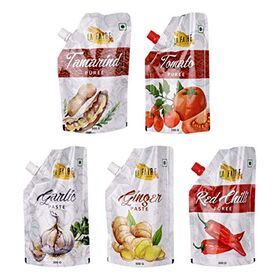 La Faire Tomato Puree, Tamarind Puree, Red Chilli Puree, Garlic Paste and Ginger Paste, 2.5 kg (Combo of 5)