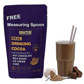 BOGATCHI Hot Chocolate Drinking Powder , Raw - No Sugar- Vegan - Gluten Free- Dark Unsweetened Drinking Cocoa Powder, 200g , Free Measuring Spoon