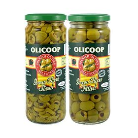 Olicoop Green Slice Olives 450g + Green Pitted Olives 450g, Pack of 1 Each, Produced in Spain