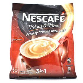 Nestle-Nescafe 3-in-1 Blend and Brew Premix Coffee, 30 Sticks