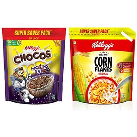 Kellogg's Combo, Kellogg's Chocos Moons and Stars 1.2 kg Pouch and Kellogg's Corn Flakes Original, 1.2 kg