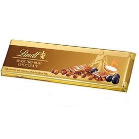 Lindt Swiss Premium Milk Chocolate With Raisins and Whole Hazelnuts, 300g