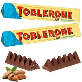 Toblerone Crunchy Almonds 2 Packs of 100gms Swiss Chocolates, Free ChoocKick Eco Friendly Pen