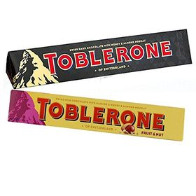 Toblerone Pack of 2 Dark and Fruit and Nuts 100g Each with Free Chocokick Eco Friendly Pen and Teddy Bear(Toblerone)