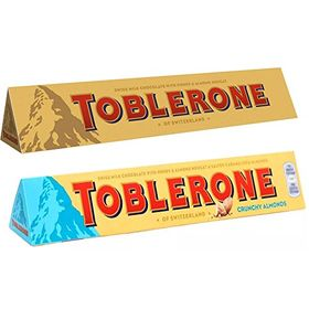 Toblerone Pack of 2 Milk and Crunchy Almonds 100g Each with Free Eco Friendly Chocokick Pen and Silver Plated Coin(Toblerone)