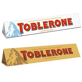 Toblerone Pack of 2 White and Milk 100g Each with Free Eco Friendly Chocokick Pen and Silver Plated Coin(Toblerone)