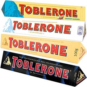 Toblerone Combo of Crunchy Almonds, Milk and Dark Swiss Chocolates, Free ChoocKick Eco Friendly Pen, 100g (White) - 4 Pcs