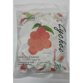 Thai Chew Lychee Toffee Gummy Milk Fruit Candy 360G (100 Pieces) From THAILAND