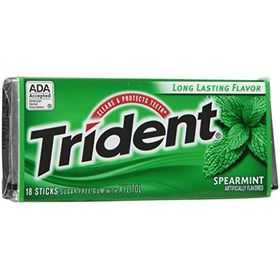 Trident Sugar Free Gum Spearmint 18 Stick (Pack Of 2)