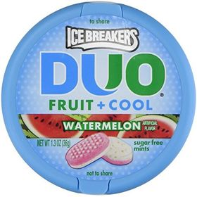 Ice Breakers Duo Fruit + Cool Watermelon Flavor Sugar Free Mints - 1.3 Oz Tins