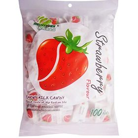 Thai Chew Strawberry Toffee Gummy Milk Fruit Candy 360G (100 Pieces)