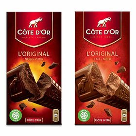 Cote d'Or Lait Melk Chocolate Bar Combo Pack, 200g with Cote d'Or Noir Puur Chocolate Bar, 200g