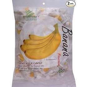 Haoliyuan Banana Flavor Sweet Soft Chewy Milk Candy, 100 Pieces (360g)