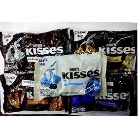 Hershey's Kisses Pack Of 5 (Milk Chocolate 340G, Milk Chocolate With Almonds 311G, Milk Chocolate With Caramel 311G, Special Dark 340G, Kisses Cookies N Creme 297G)