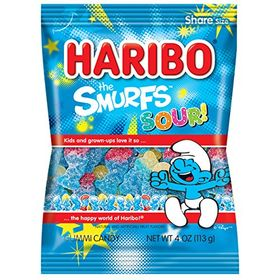 Haribo Gummi Candy Sour Smurfs 4-Ounce Bags Pack of 12