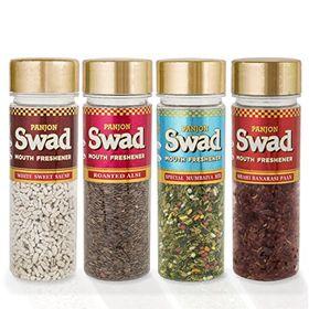 Panjon Swad Mouth Freshener (White Sweet Saunf, Roasted Alsi, Special Mumbaiya Mix & Shahi Banarasi Paan) (Combo of 4), 420 gm