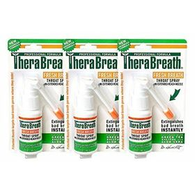 TheraBreath Fresh Breath Throat Spray with Green Tea Xylitol & Aloe Vera 1.0 oz. (pack of 3)
