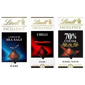 Combo of Lindt Excellence (Chilli + 70% Cocoa + Sea Salt Touch) Chocolate 100 Grams – Imported; Premium Quality.