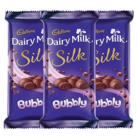Cadbury Dairy Milk Silk Chocolate Bar, Bubbly, 120g (Pack of 3)
