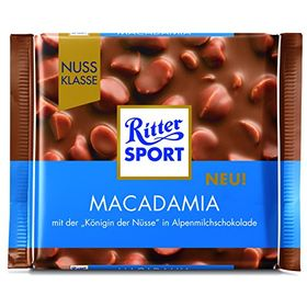 Ritter Sport Macadamia with The 'Queen of Nuts' in Alpine Milk Chocolate, 100 g