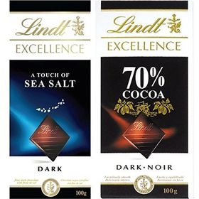 Combo of Lindt Excellence (Sea Salt Touch + 70% Cocoa) Chocolate 100 Grams – Imported; Premium Quality.