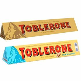 Toblerone Pack of 2 Milk and Crunchy Almonds 100g Each with Free Teddy Bear and Eco Friendly Chocokick Pen(Toblerone)