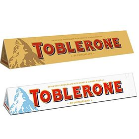 Toblerone Milk and White-100 g Each with Teddy Bear and Eco Friendly Chocokick Pen-Pack of 2