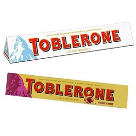 Toblerone Pack of 2 White and Fruit N Nuts 100g Each with Free Eco Friendly Chocokick Pen and Silver Plated Coin(Toblerone)