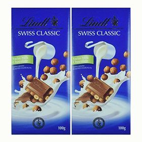 Lindt Swiss Classic Chocolate, Hazelnut, 100g (Pack of 2)