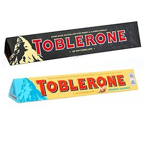 Toblerone Pack of 2 Dark and Crunchy Almonds 100g Each with Free Chocokick Eco Friendly Pen and Silver Plated Coin(Toblerone)