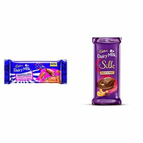 Cadbury Dairy Milk, Jelly Popping Candy, 75g (Pack of 5) and Cadbury Dairy Milk Silk, Fruit and Nut, 137g (Pack of 3)